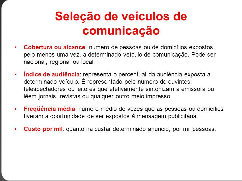 Seleção de veículos de comunicação •Cobertura ou alcance: número de pessoas ou de domicílios expostos, pelo menos uma vez, a determinado veículo de comunicação.