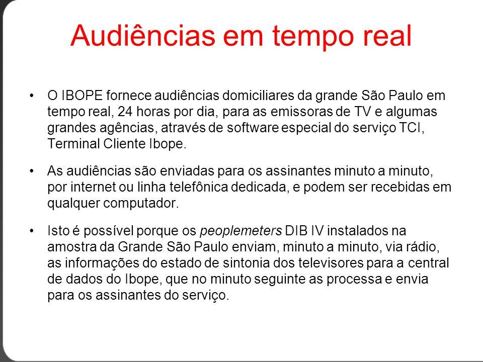 Audiências em tempo real •O IBOPE fornece audiências domiciliares da grande São Paulo em tempo real, 24 horas por dia, para as emissoras de TV e algumas grandes agências, através de software especial do serviço TCI, Terminal Cliente Ibope.