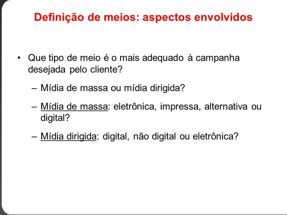 Definição de meios: aspectos envolvidos •Que tipo de meio é o mais adequado à campanha desejada pelo cliente.
