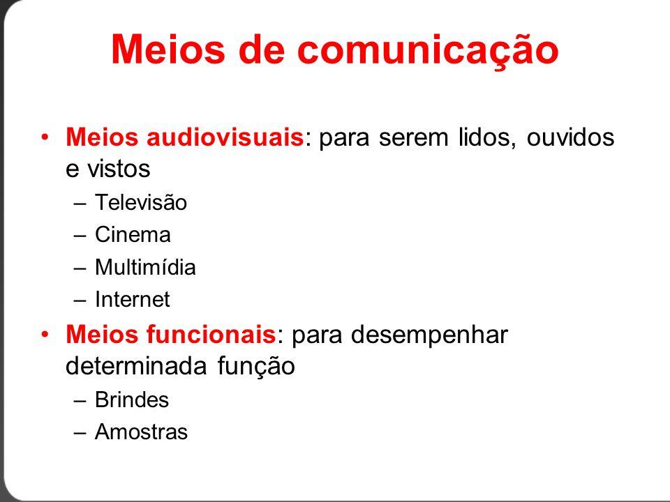 Períodos de flights MeioMínimoMáximo TV1 dia1 mês Rádio1 dia1 mês Jornal1 dia1 mês Cinema1 semana1 mês Outdoor1 quinzena1 mês Revista1 semana1 ano Painel1 mês1 ano