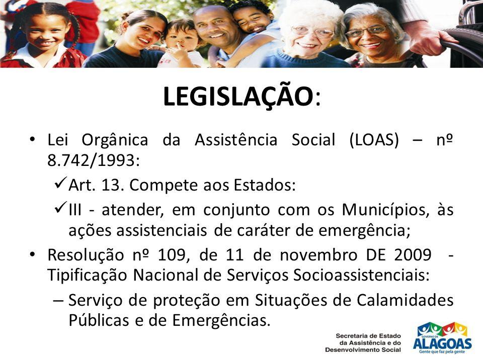 LEGISLAÇÃO: • Lei Orgânica da Assistência Social (LOAS) – nº 8.742/1993:  Art.