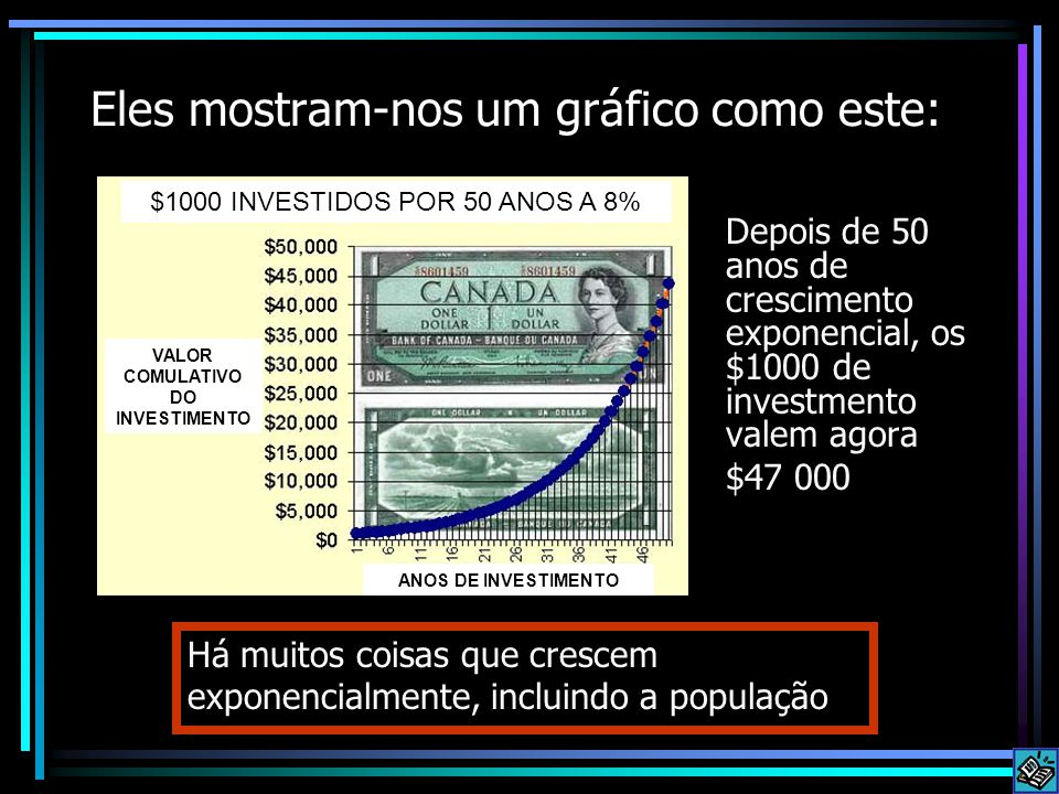 Eles mostram-nos um gráfico como este: Depois de 50 anos de crescimento exponencial, os $1000 de investmento valem agora $47 000 Há muitos coisas que