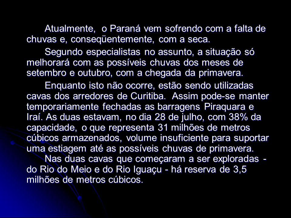 Atualmente, o Paraná vem sofrendo com a falta de chuvas e, conseqüentemente, com a seca. Atualmente, o Paraná vem sofrendo com a falta de chuvas e, co