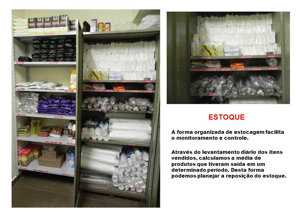 ESTOQUE A forma organizada de estocagem facilita o monitoramento e controle. Através do levantamento diário dos itens vendidos, calculamos a média de