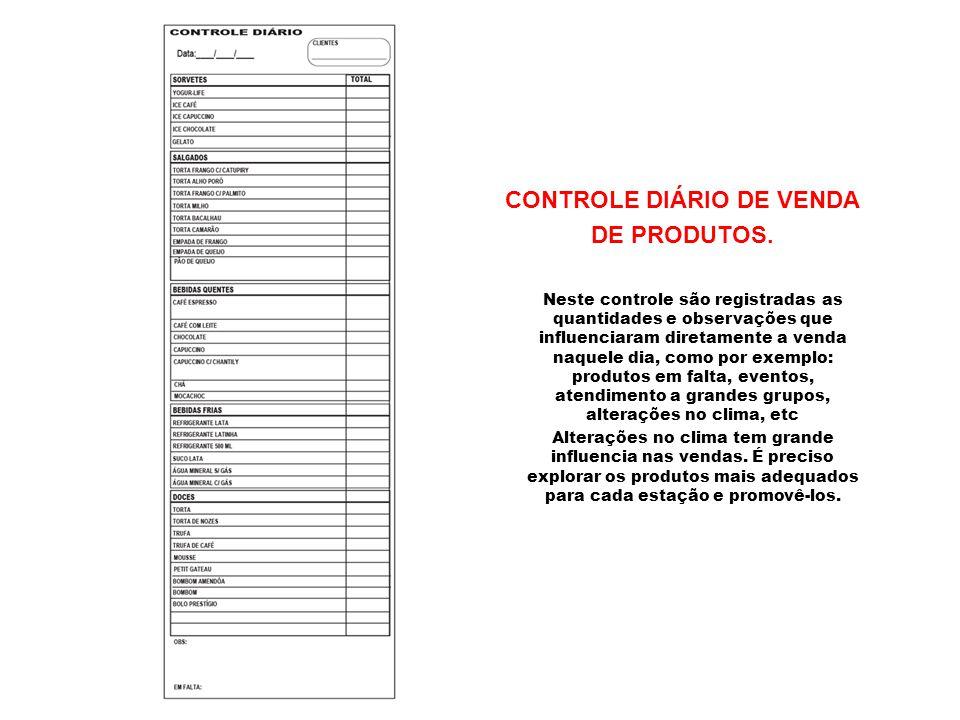 CONTROLE DIÁRIO DE VENDA DE PRODUTOS. Neste controle são registradas as quantidades e observações que influenciaram diretamente a venda naquele dia, c