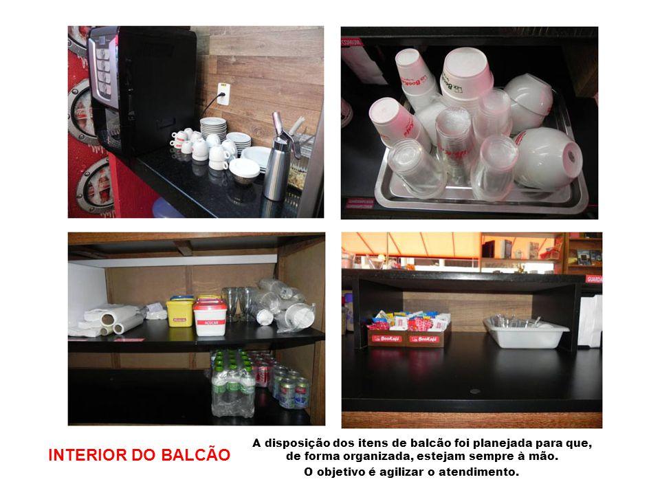 INTERIOR DO BALCÃO A disposição dos itens de balcão foi planejada para que, de forma organizada, estejam sempre à mão. O objetivo é agilizar o atendim