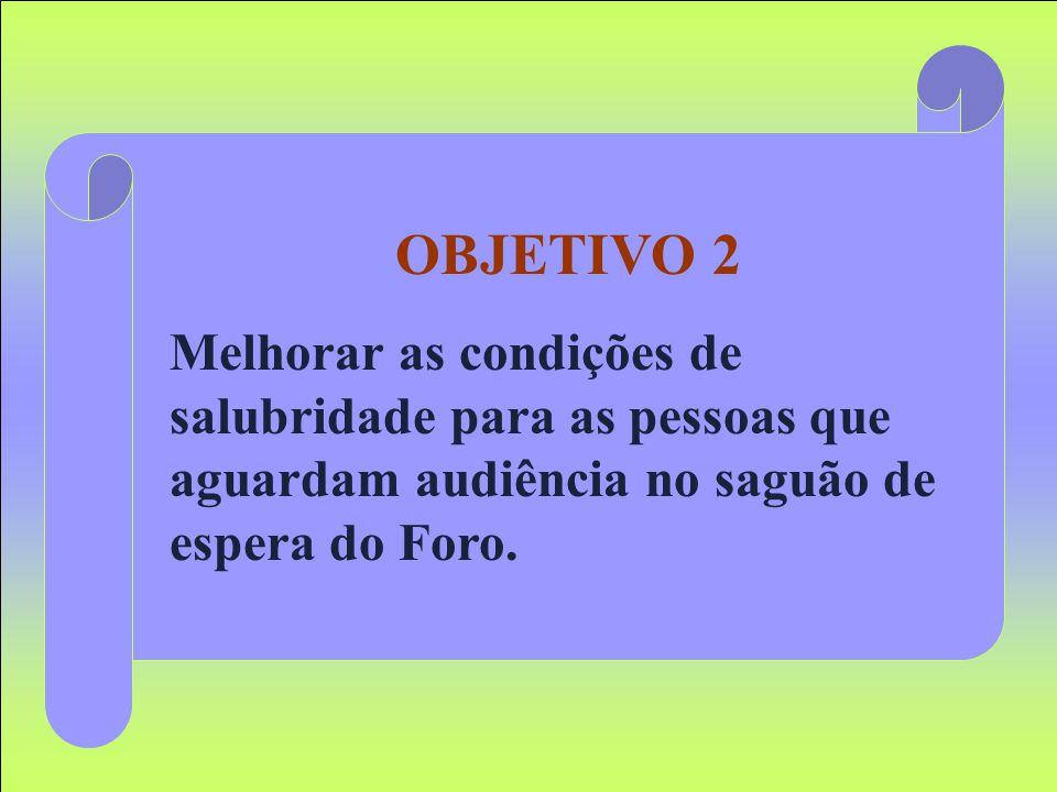 OBJETIVO 2 Melhorar as condições de salubridade para as pessoas que aguardam audiência no saguão de espera do Foro.