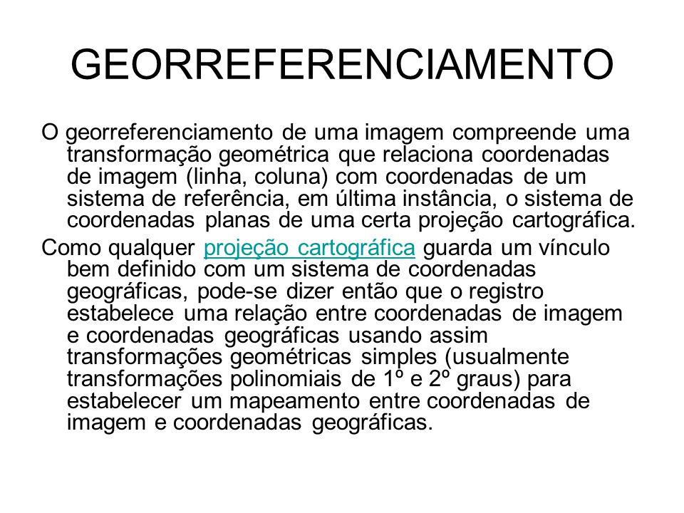 GEORREFERENCIAMENTO O georreferenciamento de uma imagem compreende uma transformação geométrica que relaciona coordenadas de imagem (linha, coluna) com coordenadas de um sistema de referência, em última instância, o sistema de coordenadas planas de uma certa projeção cartográfica.