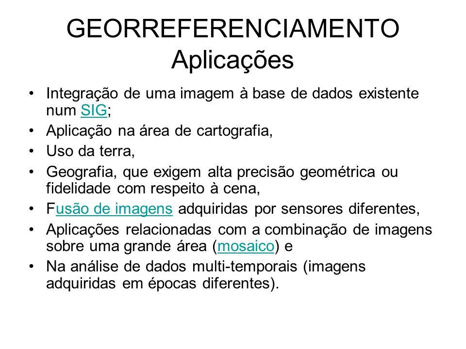 GEORREFERENCIAMENTO Aplicações •Integração de uma imagem à base de dados existente num SIG;SIG •Aplicação na área de cartografia, •Uso da terra, •Geog