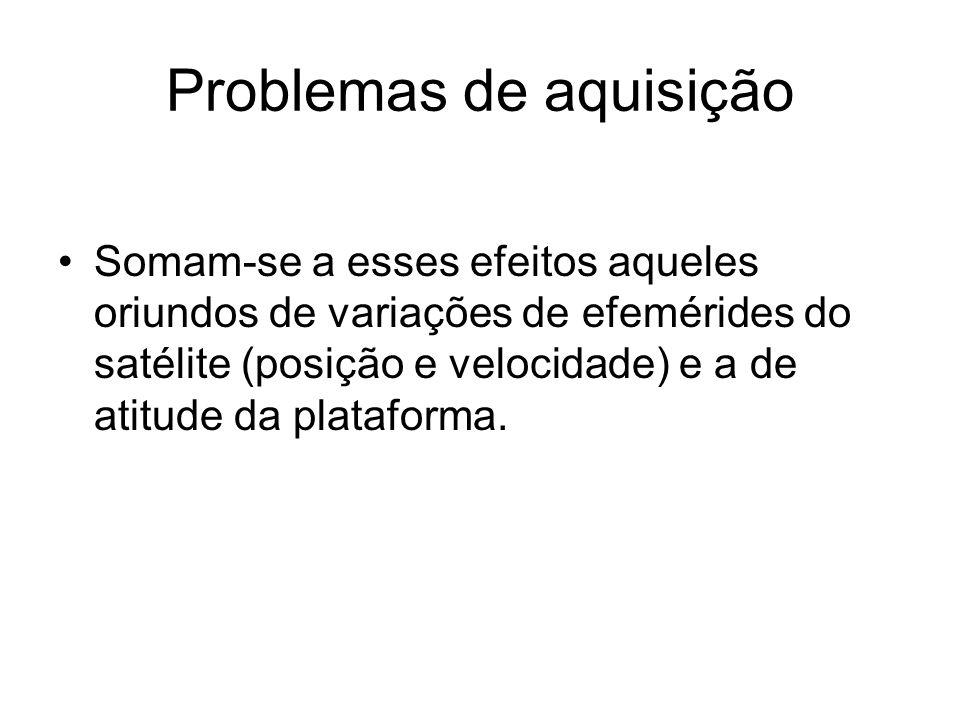 Problemas de aquisição •Somam-se a esses efeitos aqueles oriundos de variações de efemérides do satélite (posição e velocidade) e a de atitude da plataforma.