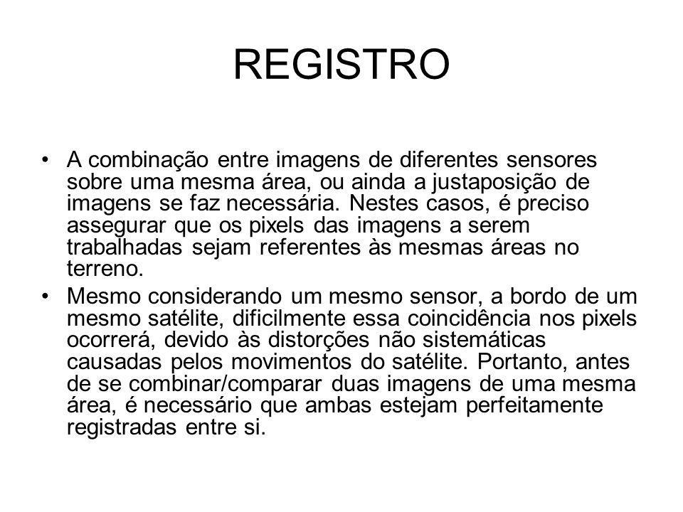 REGISTRO •A combinação entre imagens de diferentes sensores sobre uma mesma área, ou ainda a justaposição de imagens se faz necessária. Nestes casos,