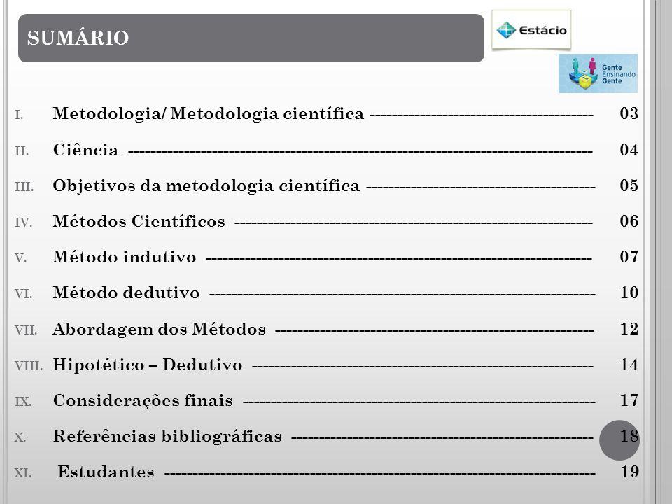 SUMÁRIO I.Metodologia/ Metodologia científica ----------------------------------------03 II.