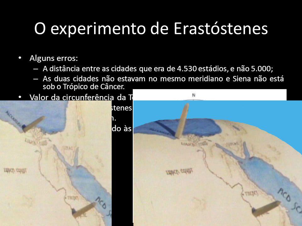 O experimento de Erastóstenes • Alguns erros: – A distância entre as cidades que era de 4.530 estádios, e não 5.000; – As duas cidades não estavam no