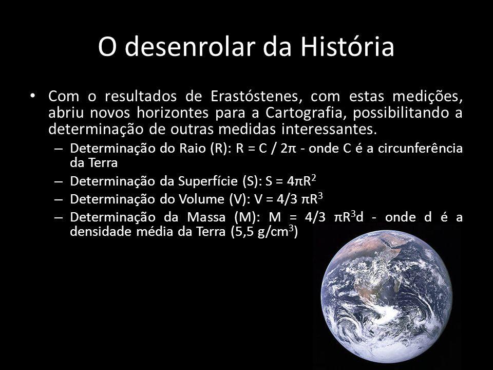 O desenrolar da História • Com o resultados de Erastóstenes, com estas medições, abriu novos horizontes para a Cartografia, possibilitando a determina