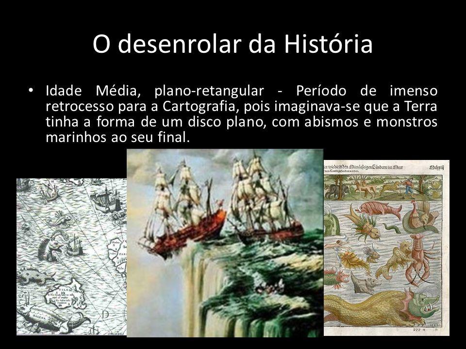 O desenrolar da História • Idade Média, plano-retangular - Período de imenso retrocesso para a Cartografia, pois imaginava-se que a Terra tinha a form