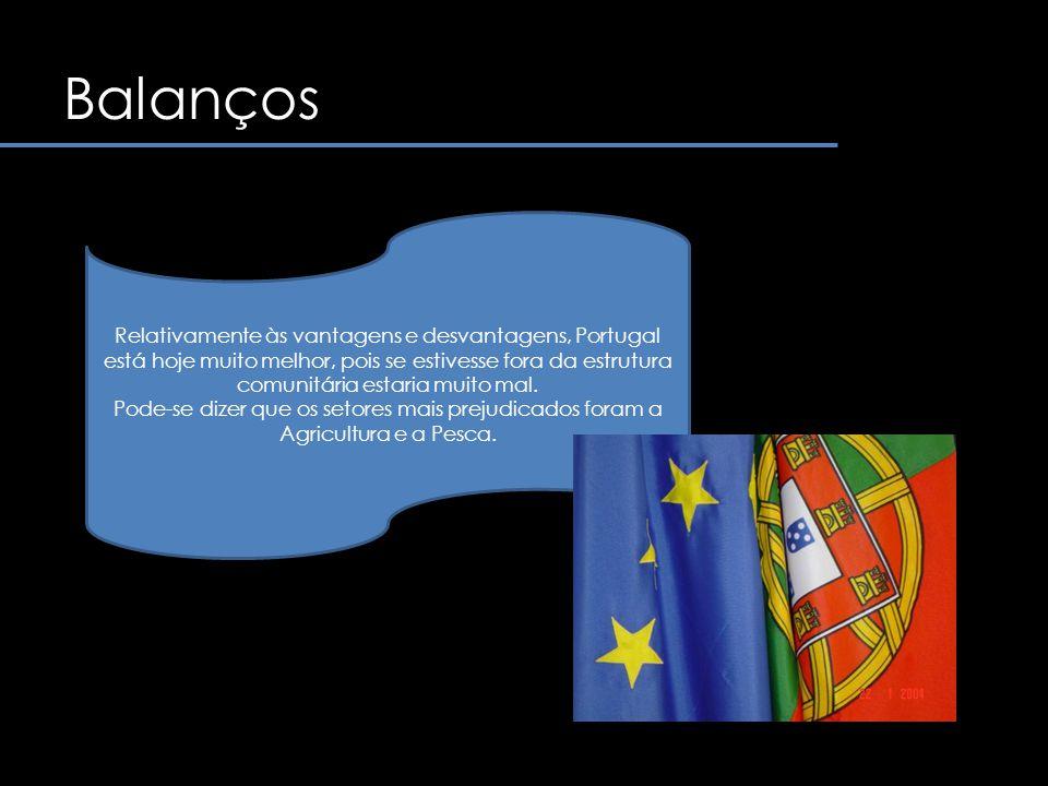 Balanços Relativamente às vantagens e desvantagens, Portugal está hoje muito melhor, pois se estivesse fora da estrutura comunitária estaria muito mal