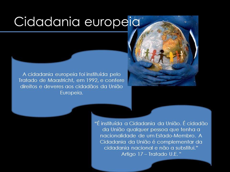 A cidadania europeia articula-se em torno de um conjunto de direitos e deveres.