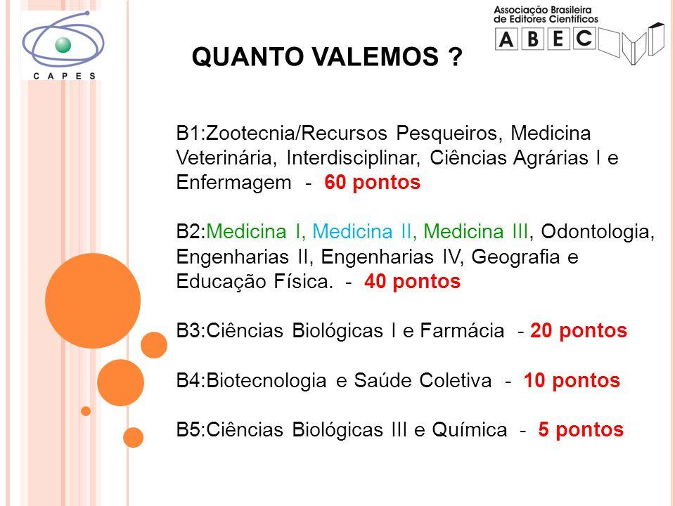 B1:Zootecnia/Recursos Pesqueiros, Medicina Veterinária, Interdisciplinar, Ciências Agrárias I e Enfermagem - 60 pontos B2:Medicina I, Medicina II, Medicina III, Odontologia, Engenharias II, Engenharias IV, Geografia e Educação Física.