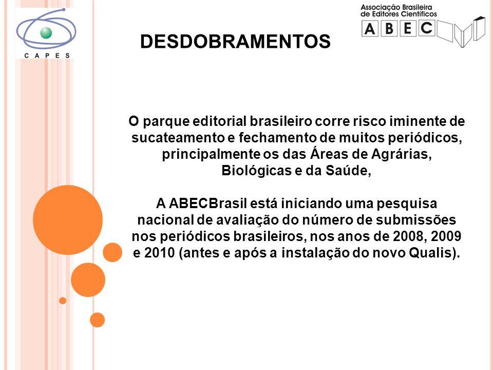 O parque editorial brasileiro corre risco iminente de sucateamento e fechamento de muitos periódicos, principalmente os das Áreas de Agrárias, Biológicas e da Saúde, A ABECBrasil está iniciando uma pesquisa nacional de avaliação do número de submissões nos periódicos brasileiros, nos anos de 2008, 2009 e 2010 (antes e após a instalação do novo Qualis).