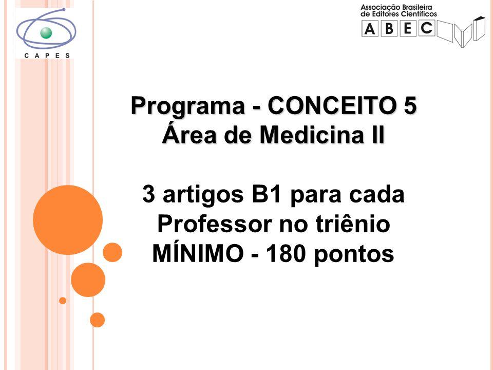 Programa - CONCEITO 5 Área de Medicina II Programa - CONCEITO 5 Área de Medicina II 3 artigos B1 para cada Professor no triênio MÍNIMO - 180 pontos
