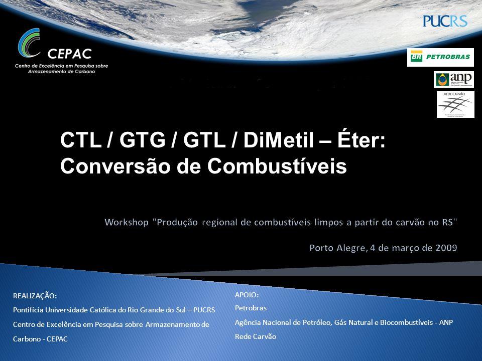 Conteúdo  CTL  Introdução;  Fundamentos;  Fischer-Tropsch;  Beneficiamento;  Impulsionadores da Tecnologia;  Projectos mundiais;  Reservas de carvão Brasileiro para CTL;  Conclusões.