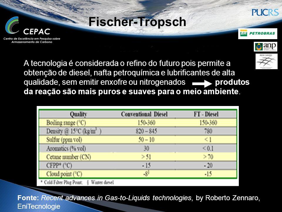 Fischer-Tropsch A tecnologia é considerada o refino do futuro pois permite a obtenção de diesel, nafta petroquímica e lubrificantes de alta qualidade,