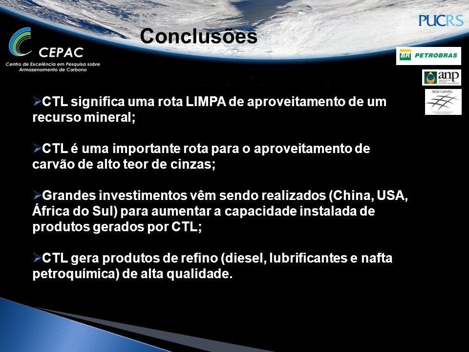  CTL significa uma rota LIMPA de aproveitamento de um recurso mineral;  CTL é uma importante rota para o aproveitamento de carvão de alto teor de ci