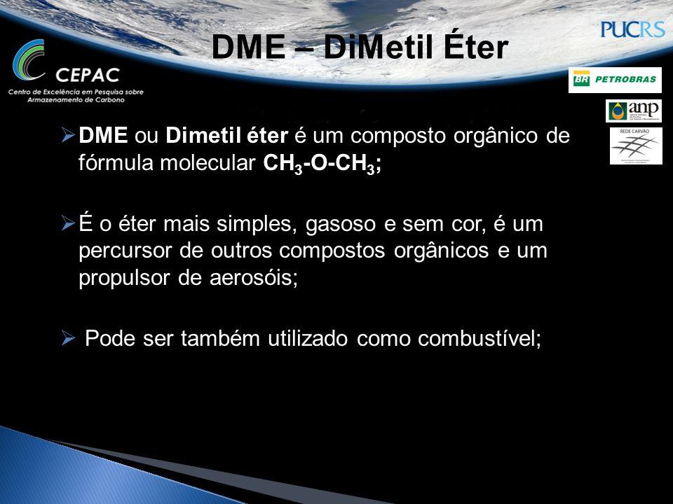 DME – DiMetil Éter  DME ou Dimetil éter é um composto orgânico de fórmula molecular CH 3 -O-CH 3 ;  É o éter mais simples, gasoso e sem cor, é um pe