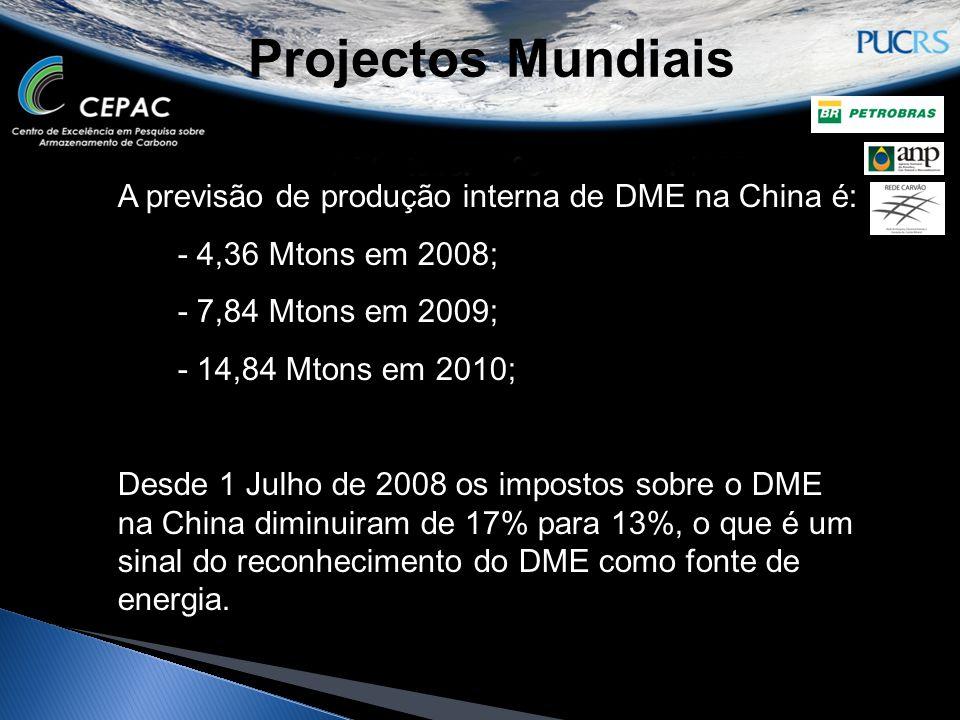 Projectos Mundiais A previsão de produção interna de DME na China é: - 4,36 Mtons em 2008; - 7,84 Mtons em 2009; - 14,84 Mtons em 2010; Desde 1 Julho
