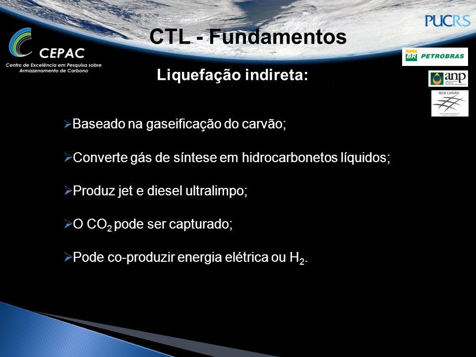 CTL - Fundamentos Liquefação indireta:  Baseado na gaseificação do carvão;  Converte gás de síntese em hidrocarbonetos líquidos;  Produz jet e dies