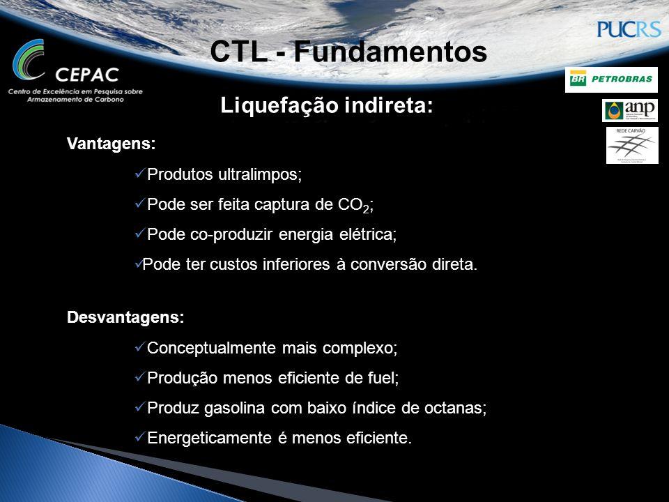 CTL - Fundamentos Liquefação indireta: Vantagens:  Produtos ultralimpos;  Pode ser feita captura de CO 2 ;  Pode co-produzir energia elétrica;  Po