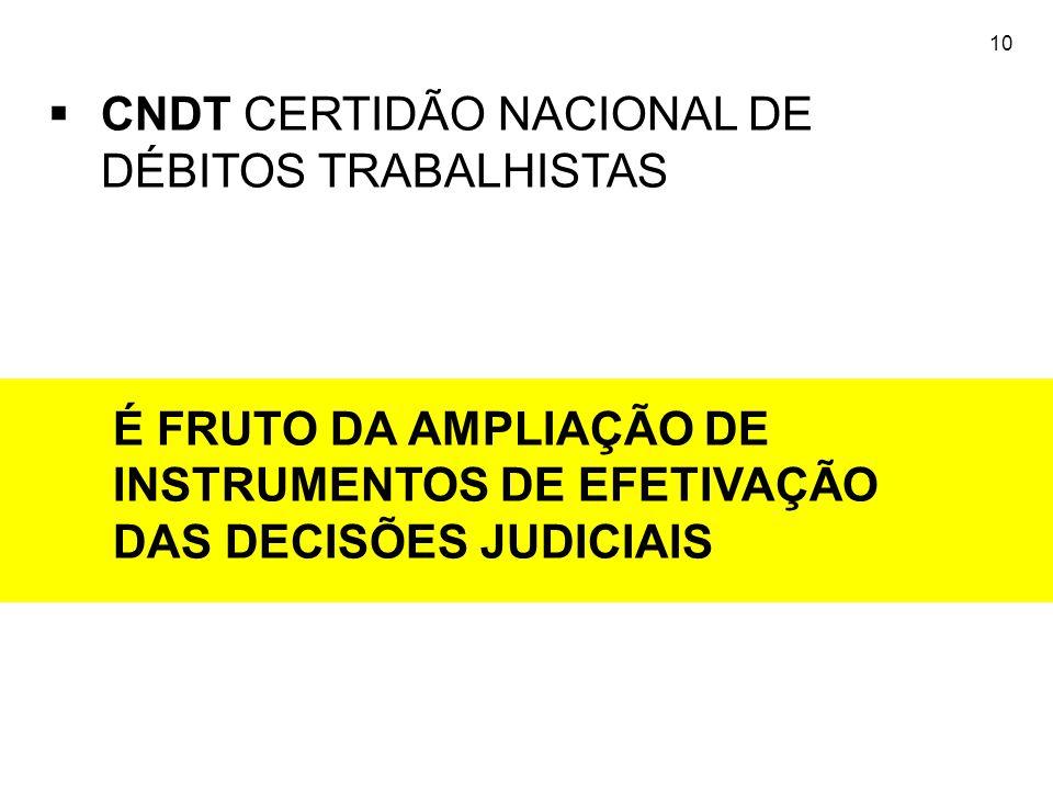 10  CNDT CERTIDÃO NACIONAL DE DÉBITOS TRABALHISTAS É FRUTO DA AMPLIAÇÃO DE INSTRUMENTOS DE EFETIVAÇÃO DAS DECISÕES JUDICIAIS