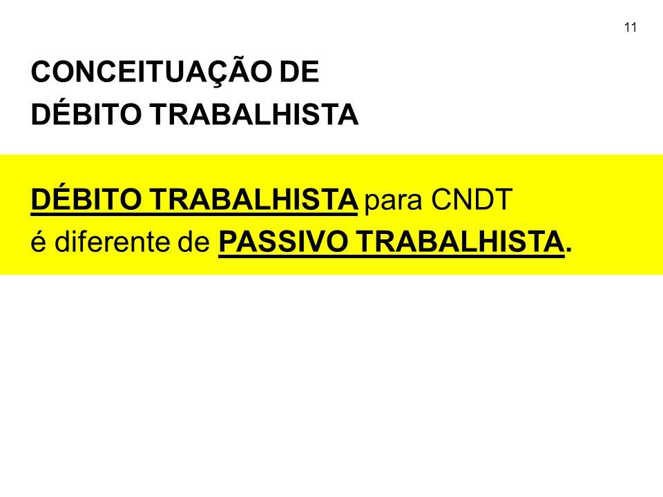 11 CONCEITUAÇÃO DE DÉBITO TRABALHISTA DÉBITO TRABALHISTA para CNDT é diferente de PASSIVO TRABALHISTA.