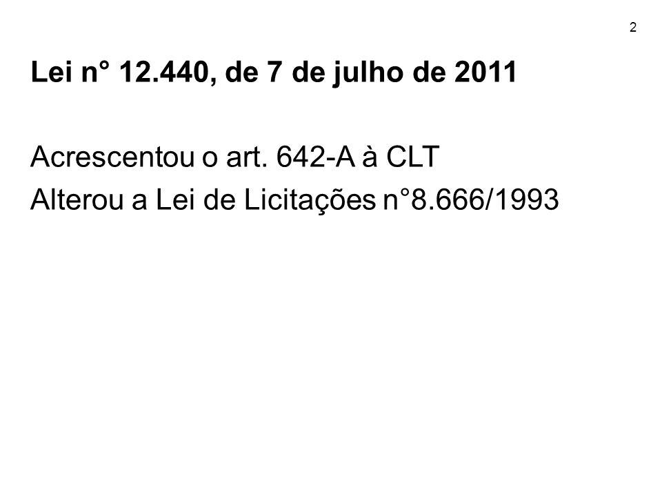 2 Lei n° 12.440, de 7 de julho de 2011 Acrescentou o art. 642-A à CLT Alterou a Lei de Licitações n°8.666/1993
