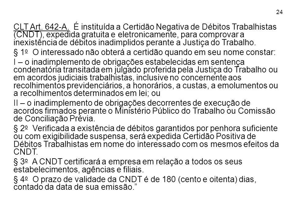 24 CLT Art. 642-A. É instituída a Certidão Negativa de Débitos Trabalhistas (CNDT), expedida gratuita e eletronicamente, para comprovar a inexistência