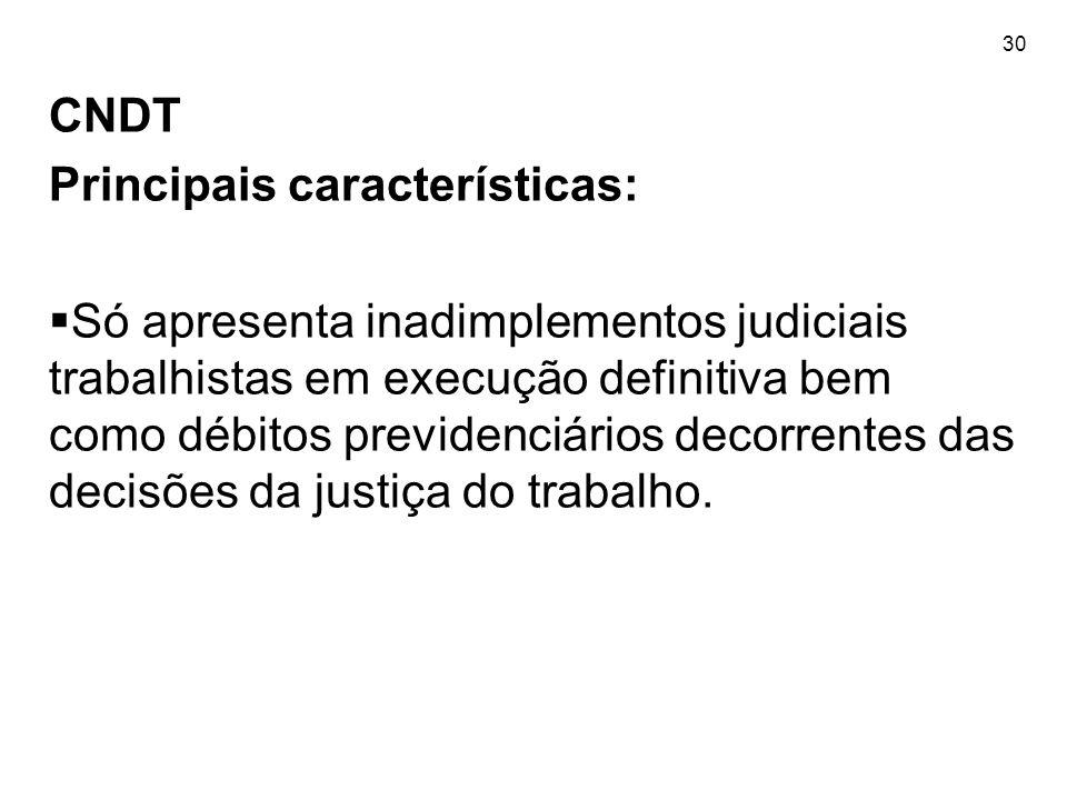 30 CNDT Principais características:  Só apresenta inadimplementos judiciais trabalhistas em execução definitiva bem como débitos previdenciários deco