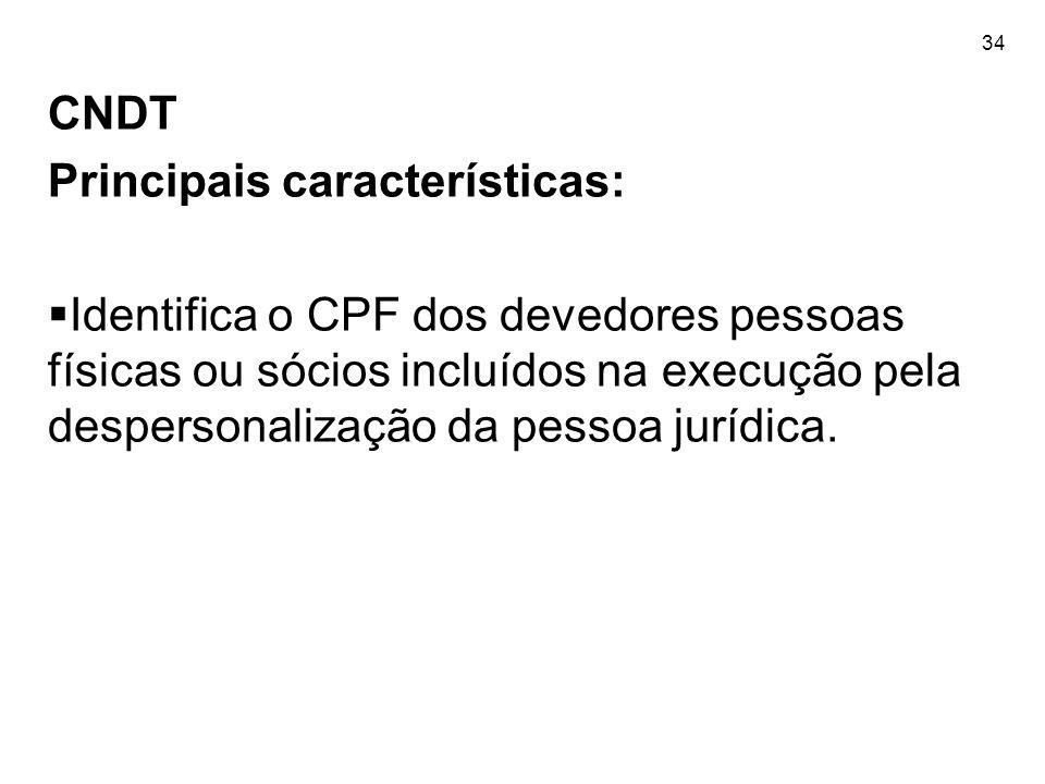 34 CNDT Principais características:  Identifica o CPF dos devedores pessoas físicas ou sócios incluídos na execução pela despersonalização da pessoa
