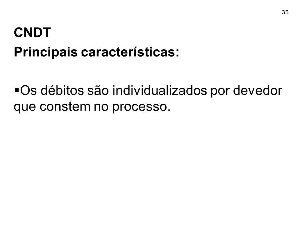 35 CNDT Principais características:  Os débitos são individualizados por devedor que constem no processo.