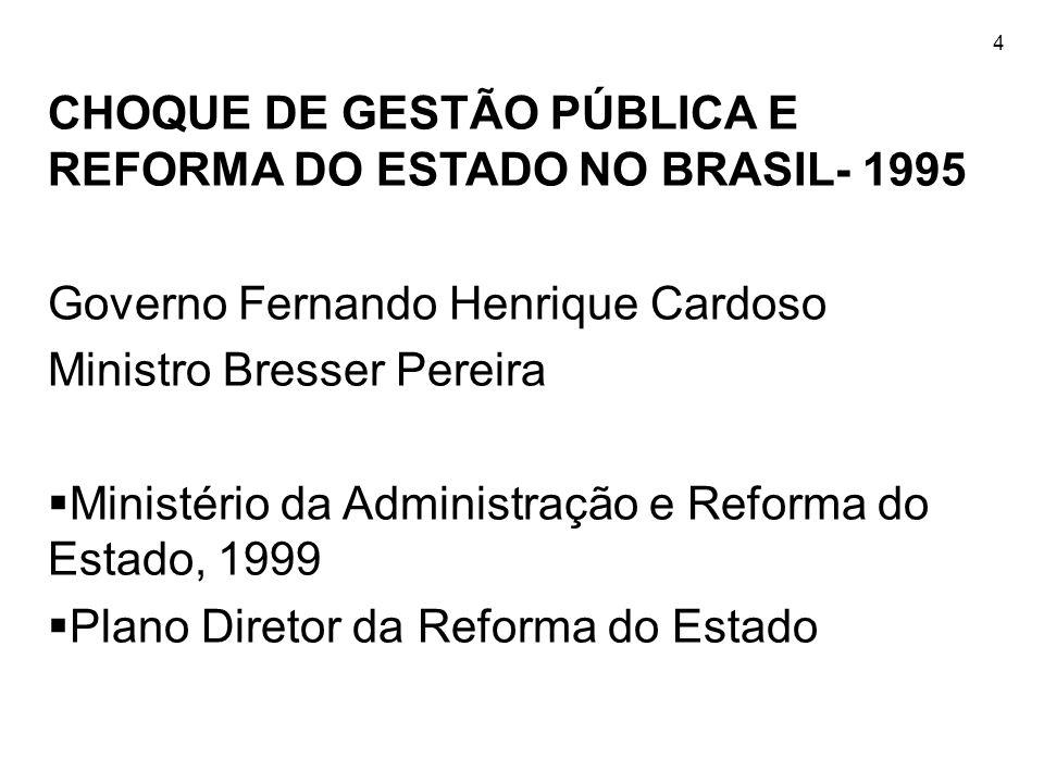 4 CHOQUE DE GESTÃO PÚBLICA E REFORMA DO ESTADO NO BRASIL- 1995 Governo Fernando Henrique Cardoso Ministro Bresser Pereira  Ministério da Administraçã