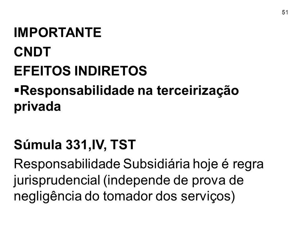 51 IMPORTANTE CNDT EFEITOS INDIRETOS  Responsabilidade na terceirização privada Súmula 331,IV, TST Responsabilidade Subsidiária hoje é regra jurispru
