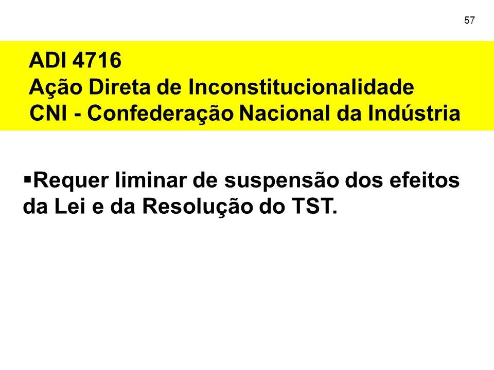57  Requer liminar de suspensão dos efeitos da Lei e da Resolução do TST. ADI 4716 Ação Direta de Inconstitucionalidade CNI - Confederação Nacional d