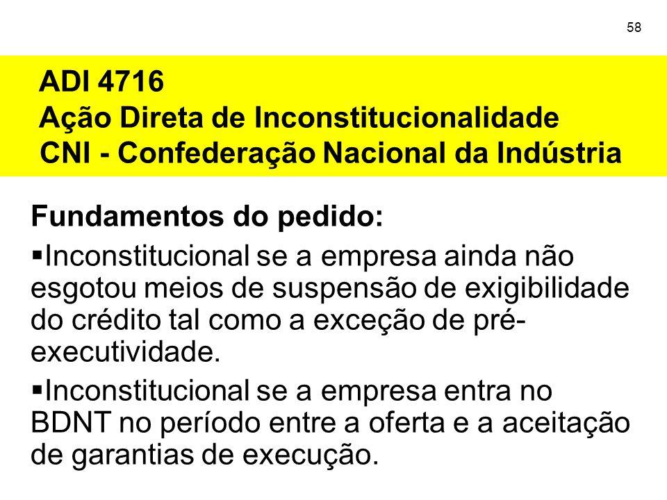 ADI 4716 Ação Direta de Inconstitucionalidade CNI - Confederação Nacional da Indústria 58 Fundamentos do pedido:  Inconstitucional se a empresa ainda