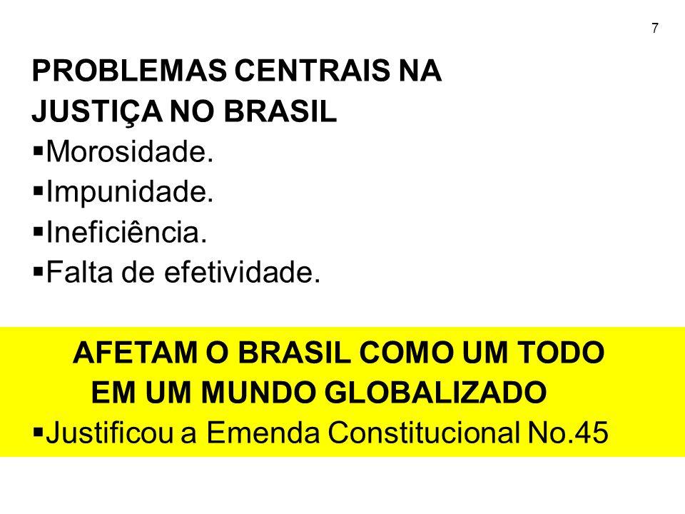 7 PROBLEMAS CENTRAIS NA JUSTIÇA NO BRASIL  Morosidade.  Impunidade.  Ineficiência.  Falta de efetividade. AFETAM O BRASIL COMO UM TODO EM UM MUNDO