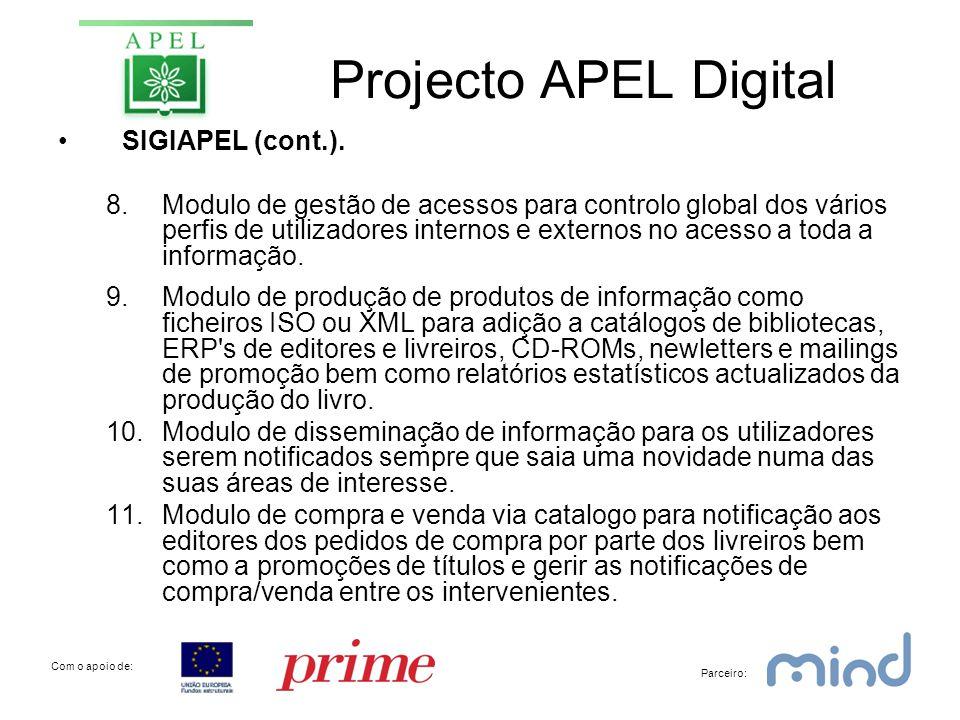 Projecto APEL Digital •SIGIAPEL (cont.).
