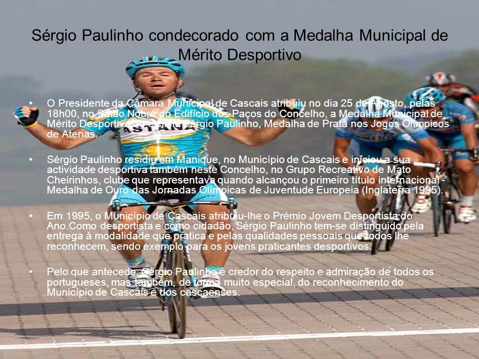 Atenas 2004: Sérgio Paulinho de Prata •O ciclista português Sérgio Paulinho garantiu em 2004, em Atenas a medalha de prata na corrida de estrada dos Jogos Olímpicos, após um desempenho fantástico que valeu a primeira medalha olímpica ao ciclismo nacional.