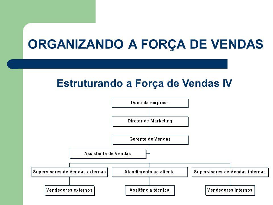 Estruturando a Força de Vendas IV ORGANIZANDO A FORÇA DE VENDAS