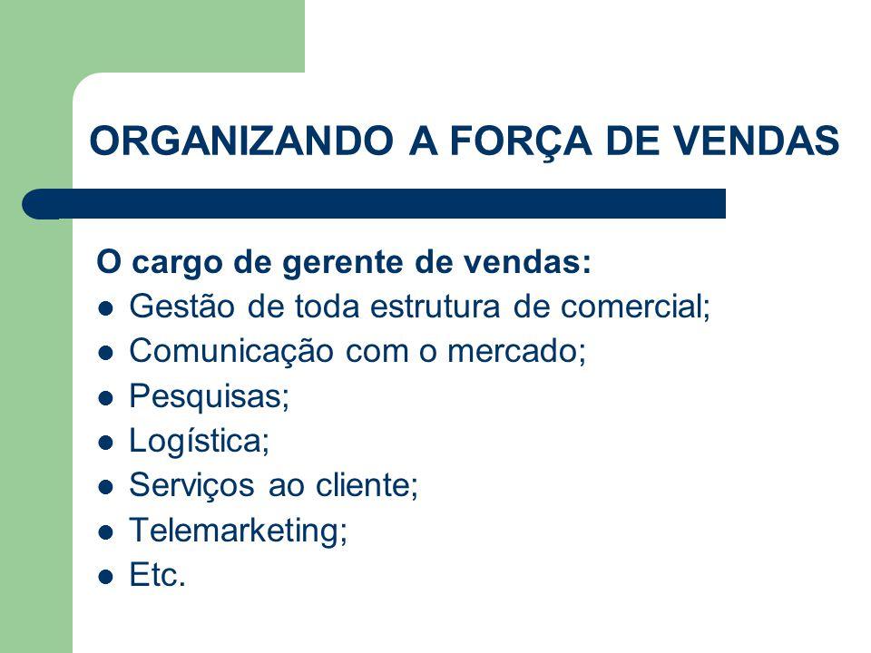 O cargo de gerente de vendas:  Gestão de toda estrutura de comercial;  Comunicação com o mercado;  Pesquisas;  Logística;  Serviços ao cliente; 