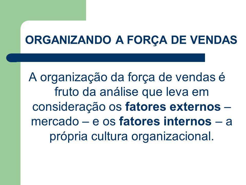 A organização da força de vendas é fruto da análise que leva em consideração os fatores externos – mercado – e os fatores internos – a própria cultura