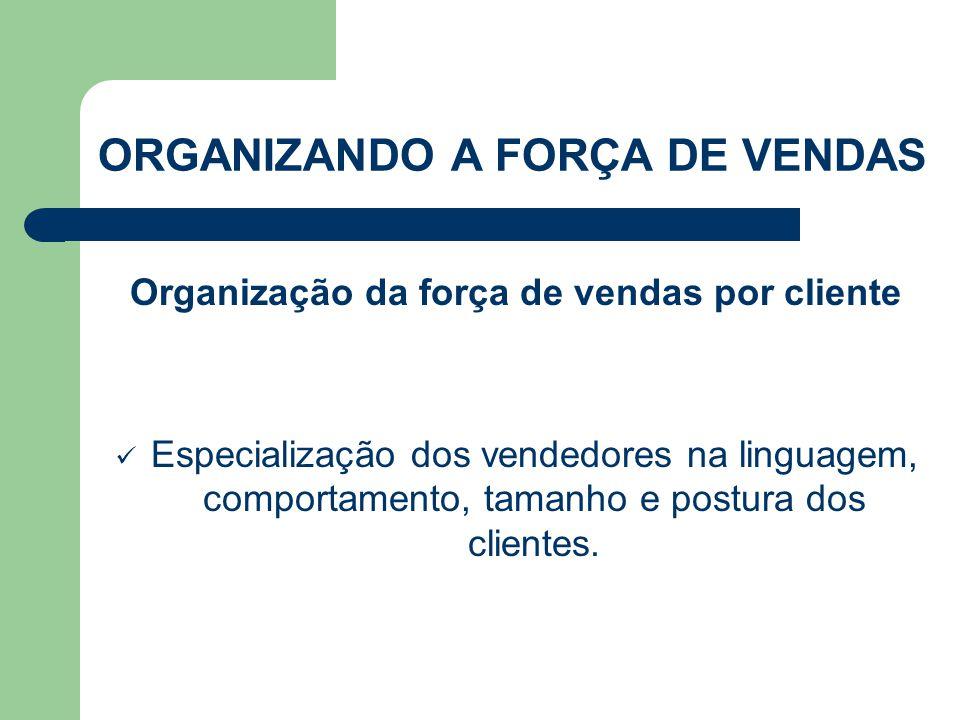 Organização da força de vendas por cliente  Especialização dos vendedores na linguagem, comportamento, tamanho e postura dos clientes. ORGANIZANDO A