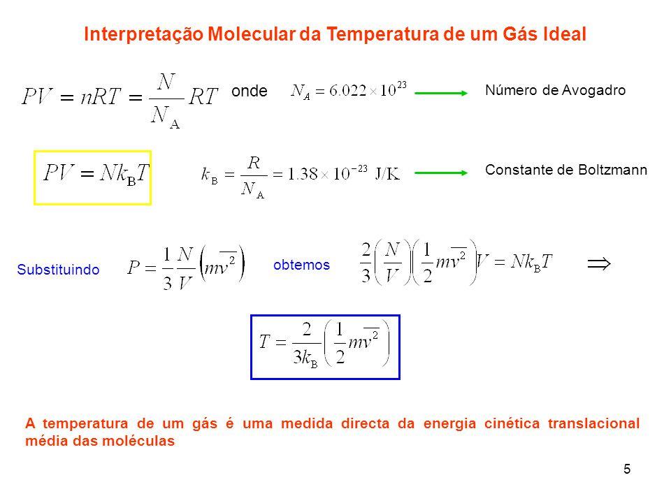 5 Interpretação Molecular da Temperatura de um Gás Ideal onde Número de Avogadro Constante de Boltzmann Substituindo obtemos A temperatura de um gás é